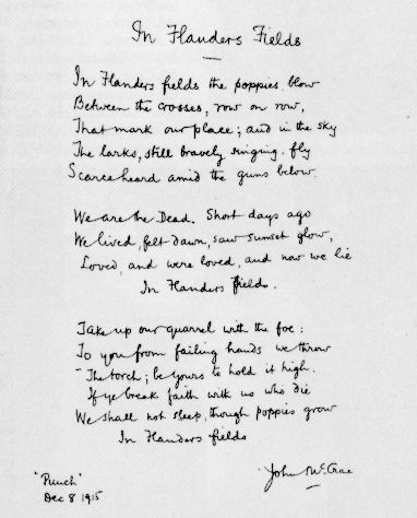 McCrae jotted down this most famous of war poems in 20 minutes during the Battle of Ypres (courtesy Library and Archives Canada/C-128809).